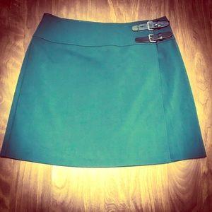 H&M Dark Green Dressy Mini Skirt